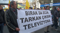 Ankara, teachers protest against government education Stock Footage