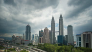 Stock Video Footage of Storm is brewing at Petronas Twin Towers - Time Lapse