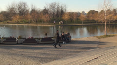 Kid's Running In The Park Pan-Shot - stock footage