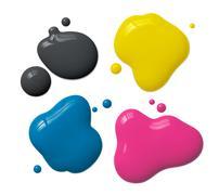 splattered cmyk ink - stock illustration