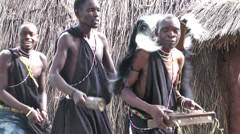 People in Masai tribe singing and dancing, Rwanda Stock Footage