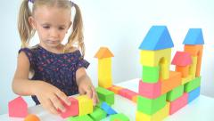 Happy Child Playing with Cubes, Bricks, Smiling Girl Playing with Toys, Children Stock Footage