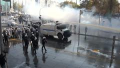 Turkey, riot police use water cannon, tear gas and smoke during Ankara protest Stock Footage