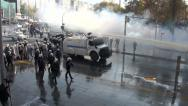 Stock Video Footage of Ankara, Turkey, riot police, water cannon, tear gas, smoke, squad