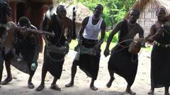 Masai tribesmen with national dances ang songs, Rwanda Stock Footage