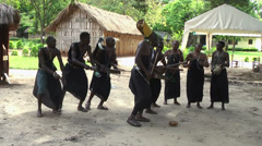 Group of African men from Masai tribe dancing to show, Rwanda - stock footage