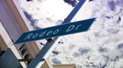 Rodeo Drive Sign 90210 (Timelapse) Stock Footage