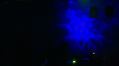 Young people dancing at a disco party, men silhouette moving, laser lights, club - stock footage