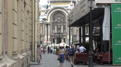 Bucharest city street, Romania, old town street with restaurants and pubs Stock Footage