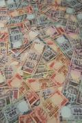 variations of indian rupees - stock photo