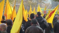 Rear view of teachers demonstrating in Ankara, Turkey Stock Footage