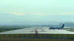 Airliner taking off at a Portland, Oregon airport Stock Footage