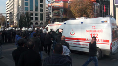 Ankara Turkey protest riot police ambulances victims injured Stock Footage