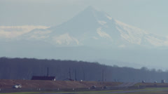 Time-lapse of a highway Portland, Oregon with Mt. Hood in background Stock Footage