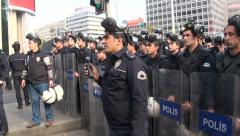 Riot police standby, Ankara, Turkey, security forces, shields, gas masks Stock Footage
