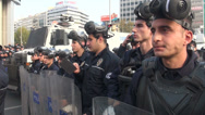 Stock Video Footage of Ankara, Turkey, riot police officers on standby, gas masks, shields, protection