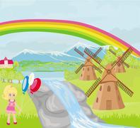 Kevät maisema tuulimyllyjä ja pikkutyttö Piirros