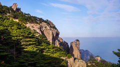 The sunny day of Yellow Mountain in Anhui Province, China Stock Footage