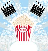 pop corn with clapper board, cinema. abstract card - stock illustration