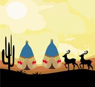 Wild landscape with two wigwams and wild animals Stock Illustration