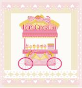 Stock Illustration of vendor ice cream mobile booth,  abstract card