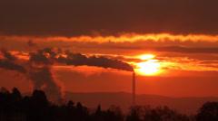 smoking chimneys afterglow - stock footage