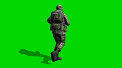 US Soldier runs - seperated on green screen - stock footage