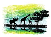 Stock Illustration of safari in africa silhouette of wild animals reflection in water