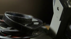 16 mm film reel closeup Stock Footage