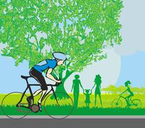 man riding a bike in the park - stock illustration