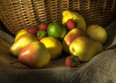 Stock Photo of pears, lemons and strawberries