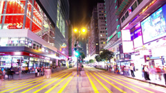 Tsim Sha Tsui. Hong Kong Night Timelapse. 4K Tight Zooming In shot. Stock Footage