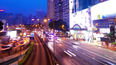 Causeway Bay. Hong Kong Night Timelapse. 4K Tight Panning Shot. Stock Footage