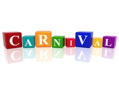 carnival in 3d cubes - stock illustration
