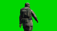 US Soldier walks - seperated on green screen - stock footage