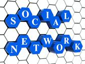 Stock Illustration of social network - blue hexahedrons in cellular structure