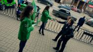 Stock Video Footage of Promoters distribute leaflets