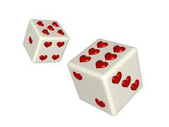 Dice with hearts Stock Illustration