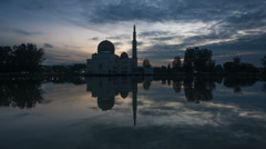 Reflection of a mosque at Ramadan sunrise Time Lapse - stock footage