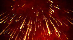 Fire rain, sparkle particle glow hot volcano lava eruption. - stock footage