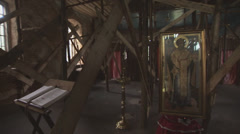 Pan of interior of a male cloister in Chernobyl Allienation Zone Stock Footage