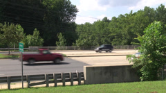 Highway side view and traffic summer Stock Footage