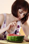Woman with watermelon Stock Photos