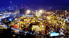 Stock Video Footage of 4K Containers Port Timescape at Night. Hong Kong. Tight Shot.