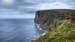 A timelapse of St Johns Head, Orkney, Scotland Stock Footage