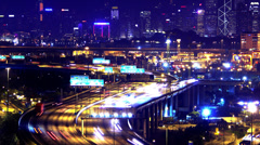 4K Containers Port Timescape at Night. Hong Kong. Tight Shot. - stock footage