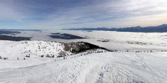Panoramic View of the mountain in winter - stock photo