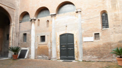 Interior courtyard of Santi quattro Incoronati Basilica in Rome, Italy - stock footage