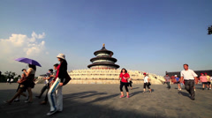 The tour group in Temple of Heaven, Beijing, China Stock Footage