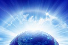 planet earth, bright sun, heaven - stock illustration